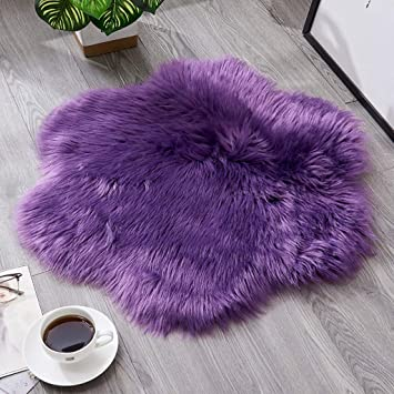 White Area Rugs Wool Imitation Sheepskin Rugs Faux Non Slip Bedroom Shaggy Carpet Mats,23.62 x 23.62inch