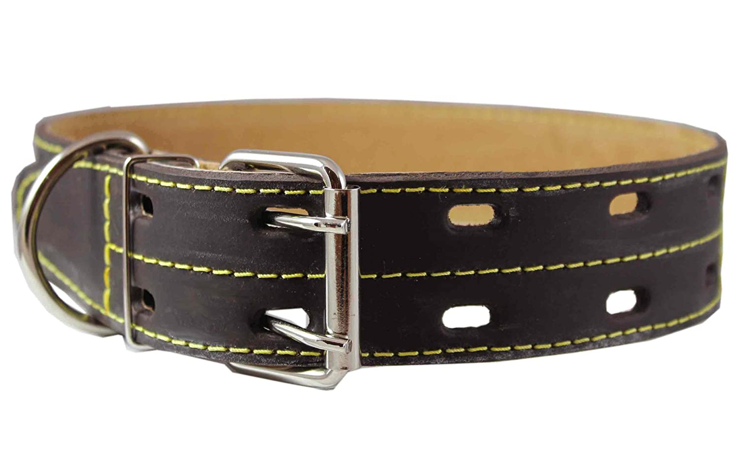 Genuine Thick Leather Dog Collar 20-27 Neck Size 1.75 Wide Brown Mastiff Great Dane