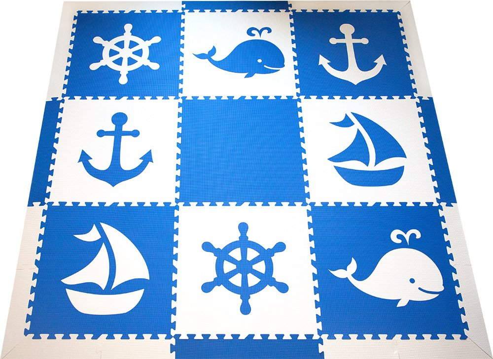 SoftTiles Kids Interlocking Foam Playmat With Sloped Edge Pieces- Nautical Ocean Theme - Large 2' Floor Tiles for Playrooms and Baby Nursery (6.5' x 6.5')- Blue and White SCNAUBW