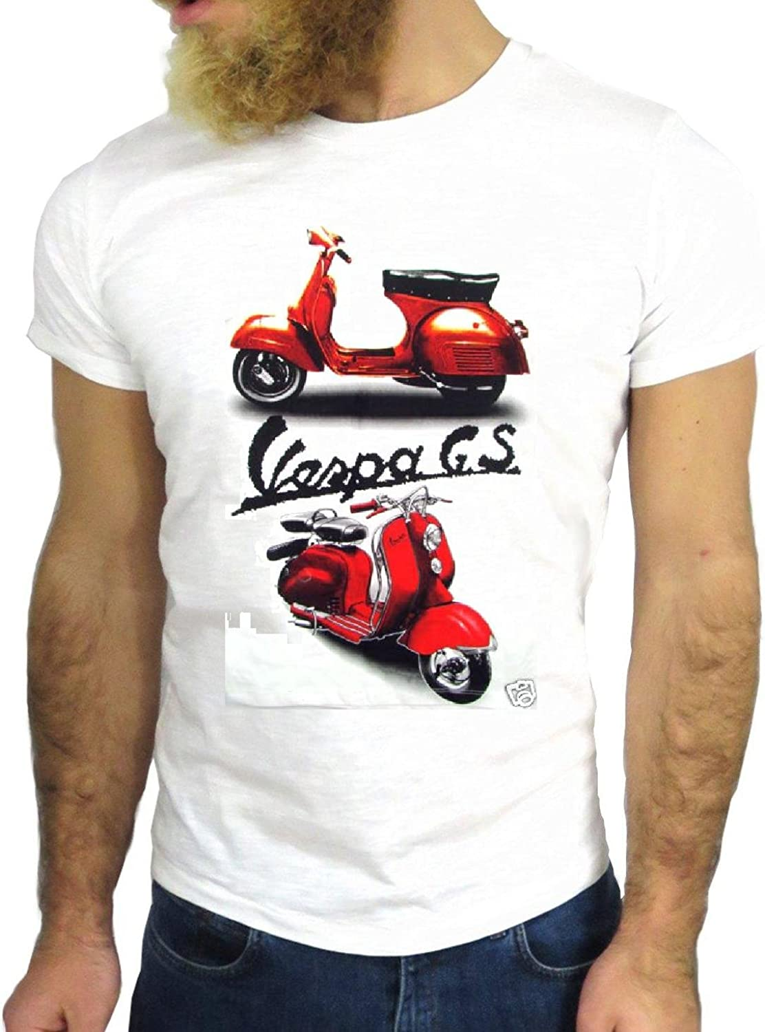 T SHIRT JODE Z2355 VESPA COOL ROCK VINTAGE GS GA MADE IN ITALY SCOOTER ROCK GGG24 BIANCA - WHITE XL: Amazon.es: Ropa y accesorios