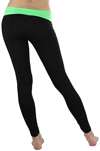 39a615b515 ToBeInStyle Women's Black Athletic Leggings with Fold-Over Contrast  Waistband - Green at Amazon Women's Clothing store: