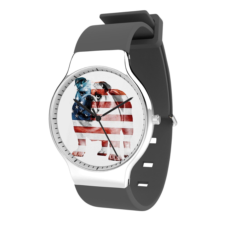 FELOOWSE American Bulldog Watch Men'S Quartz Watches, Minimalist Slim Japanese Quartz Youth Silicone Watches, Fashion PracticalWaterproof Boys Watch Customized Watches