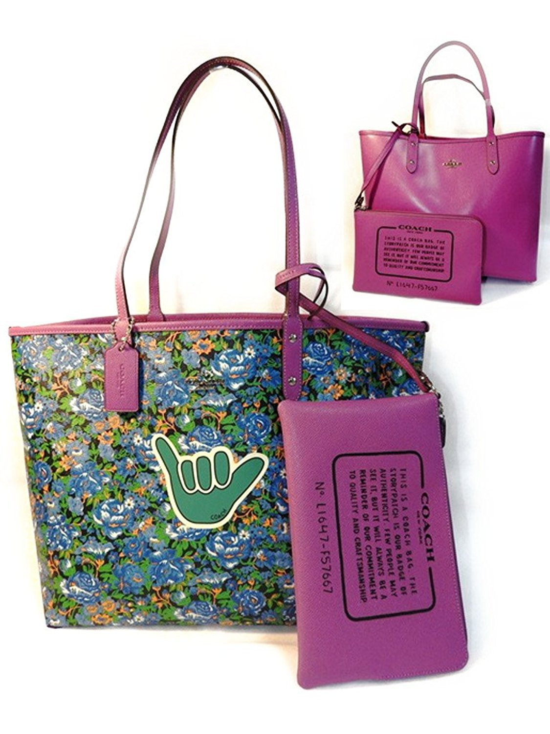 Coach F57667 Reversible City Tote In Rose Meadow Print Blue Multi Hycintha