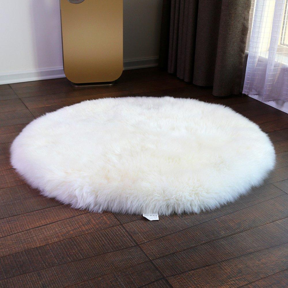 FANG Schaffell Teppich Echter Wollteppich Australian Imitation Wool Stuhl Kissen 6-8cm Wolle Yoga-Matte 100% Öko Lammfell,Weiß-150cm