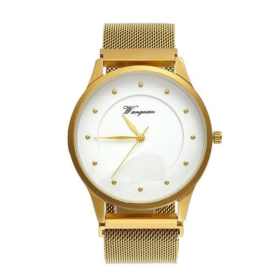 Oro Mujer Hombre Reloj de pulsera, lancardo Fashion Luxus Casual analógico de cuarzo reloj con aleación Malla Milanese pulsera botón magnético de acero ...