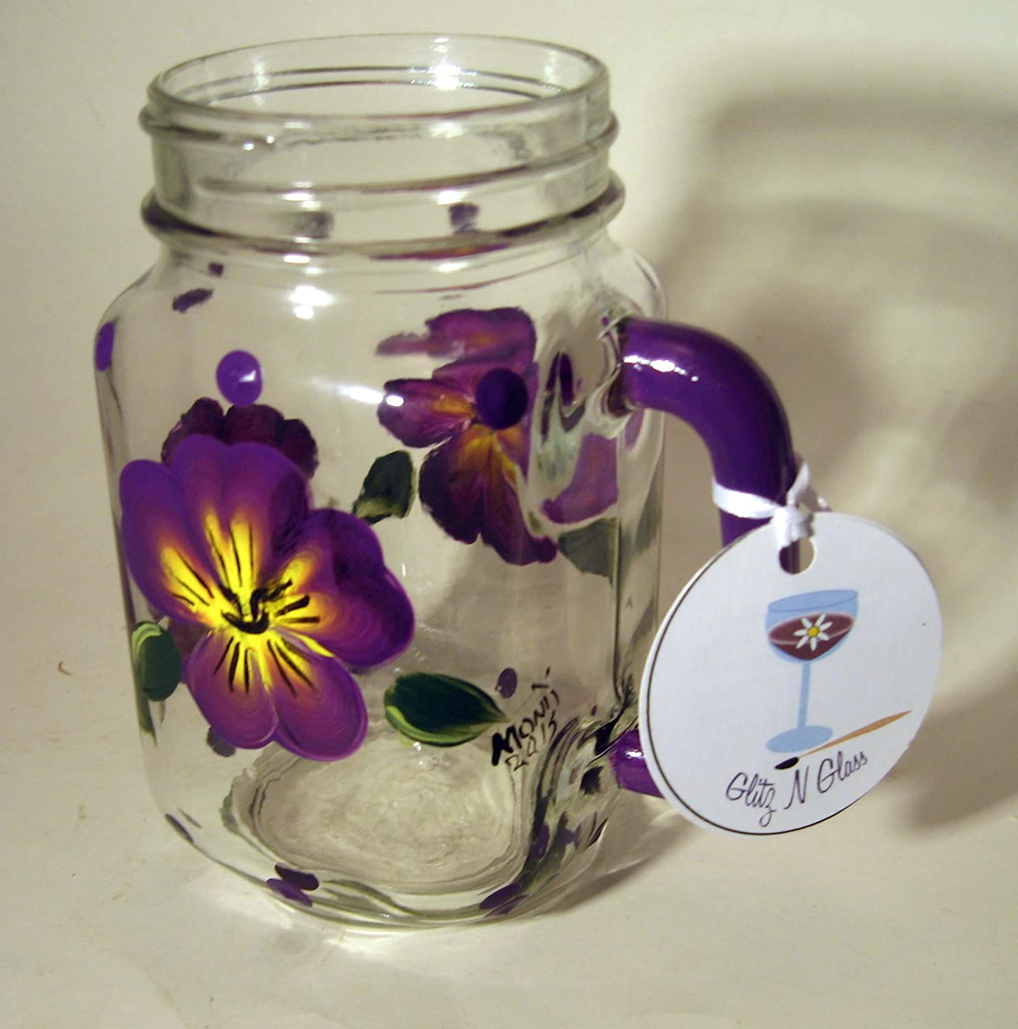 Hand Painted Mason Pint Jar With Pansies