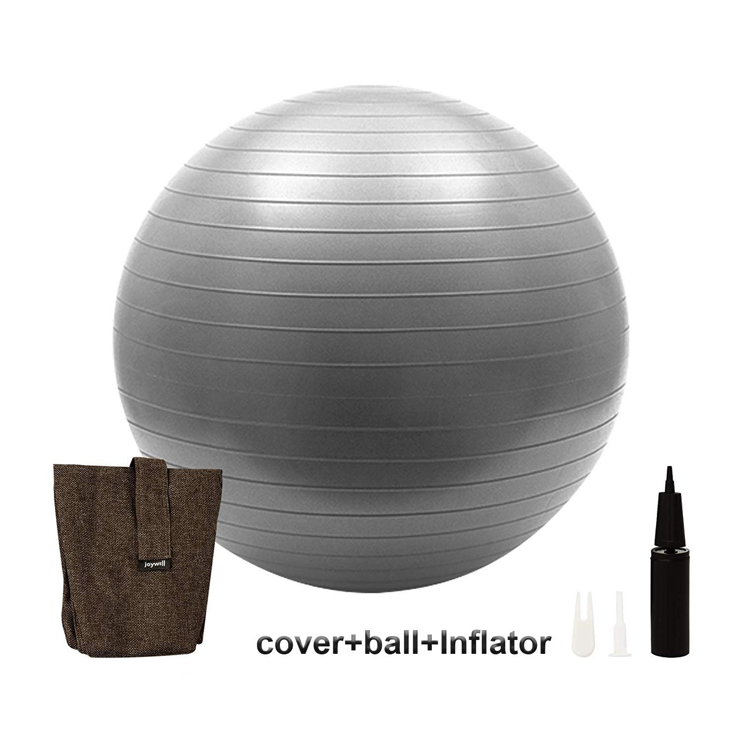Joywell -Sitting Ball Chair with Handle for Home, Office, Pilates, Yoga, Stability and Fitness - Includes Exercise Ball with Pump Multifunction Foldable Storage Bag Laundry Hamper (65CM,Chocolate)
