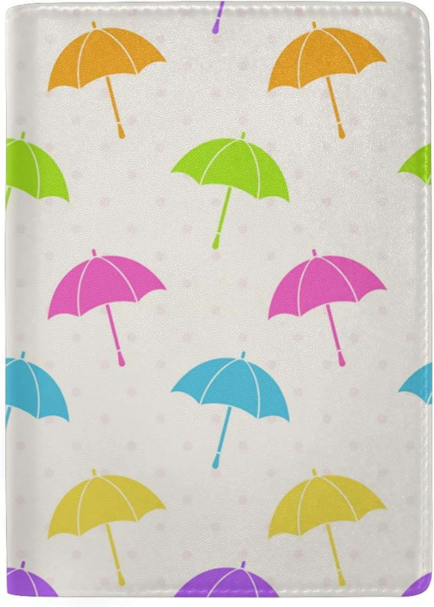ColourLife Colorful Umbrellas Leather Passport Holder Cover for Men Women Kids