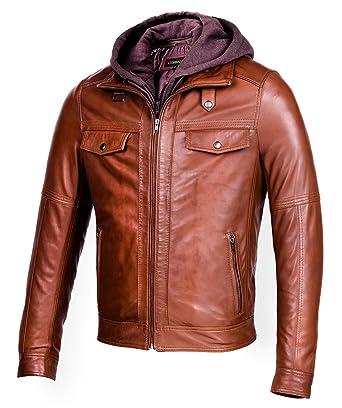 Corbani Mens Leather Bomber Jacket With Removable Hood Genuine