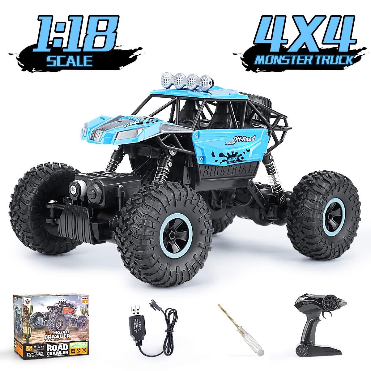 Remote Control Trucks Cars 1:18 Scale Off Road RC Rock Crawlers Rechargeable High Speed Vehicle Toys Car for Kids and Adults, Blue