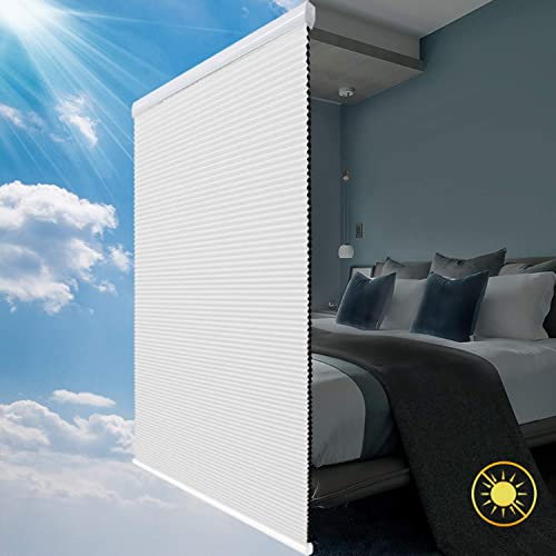 SBARTAR Cellular Shades Cordless Blackout Honeycomb Blinds Fabric Window Shades White Blackout