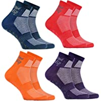 Rainbow Socks - Niño Niña Deporte Calcetines Antideslizantes ABS de Algodón - 4 Pares - Jeans Violeta Naranja Rojo…