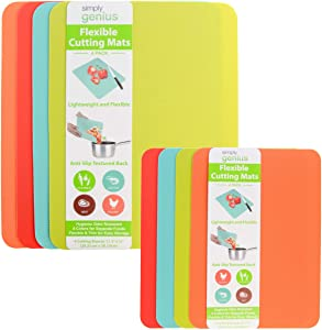 Simply Genius (8 Piece) Plastic Cutting Boards for Kitchen Prep, Non Slip Flexible Cutting Mat Set, Dishwasher Safe, Colorful Chopping Boards for Meats and Vegetables