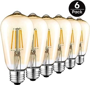 Bombillas LED Vintage E27, Retro Bombilla de Filamento Edison 4W(equivalente a 40w), ST64 Tornillo 220V-240V Lámpara Antigua Decorativa Bombillas, Cálido Blanco(6 Pack): Amazon.es: Iluminación