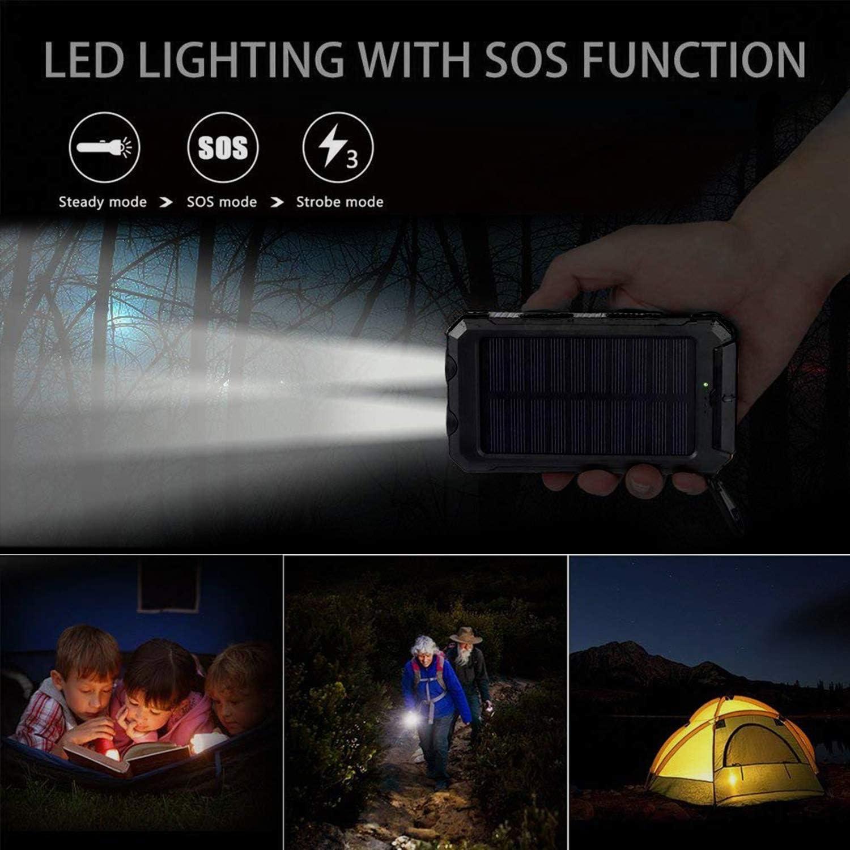 Cargador Solar port/átil de 10000 mAh bater/ía de Respaldo Externa IP65 Resistente al Agua Pealiker 2 Luces LED y br/újula con Dos Puertos USB