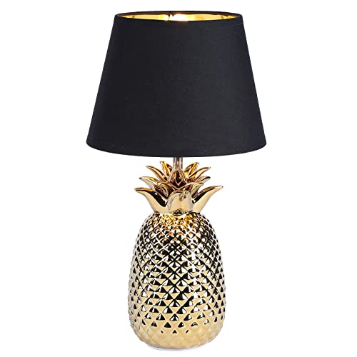 CO-Z Gold Desk Lamp with Ceramic Pineapple Base, 16 Inches Accent Lamp Bedside Lamp with Black Fabric Shade, Modern Table Lamp for Living Room, Bedroom, Farmhouse UL certificated. Gold