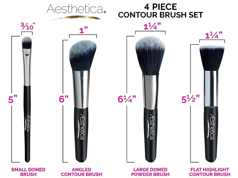 Amazon.com: Aesthetica Cosmetics 4-Piece Premium Synthetic Contour ...