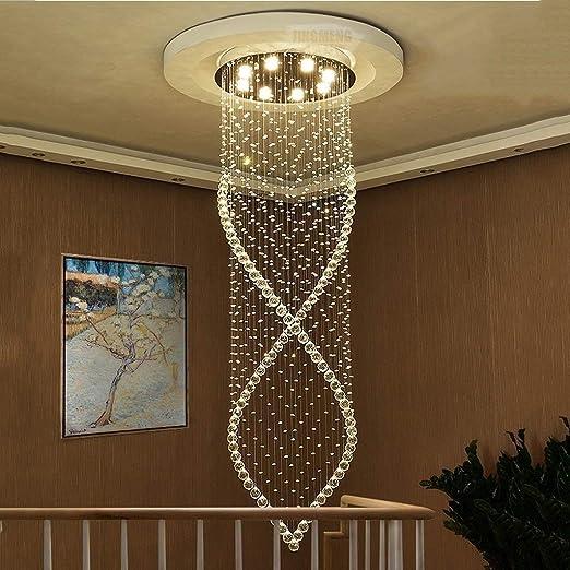 Lámpara Colgante Lluminación Colgantes Escaleras giratorias arañas de cristal, lámpara de larga Duplex Piso Edificio Villa Crystal Light Amplio salón de la lámpara LED (Size : 8lights/60*200cm) : Amazon.es: Hogar
