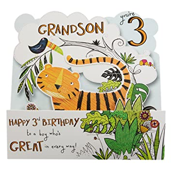 Hallmark 3rd Birthday Card For Grandson Pop Out Jungle