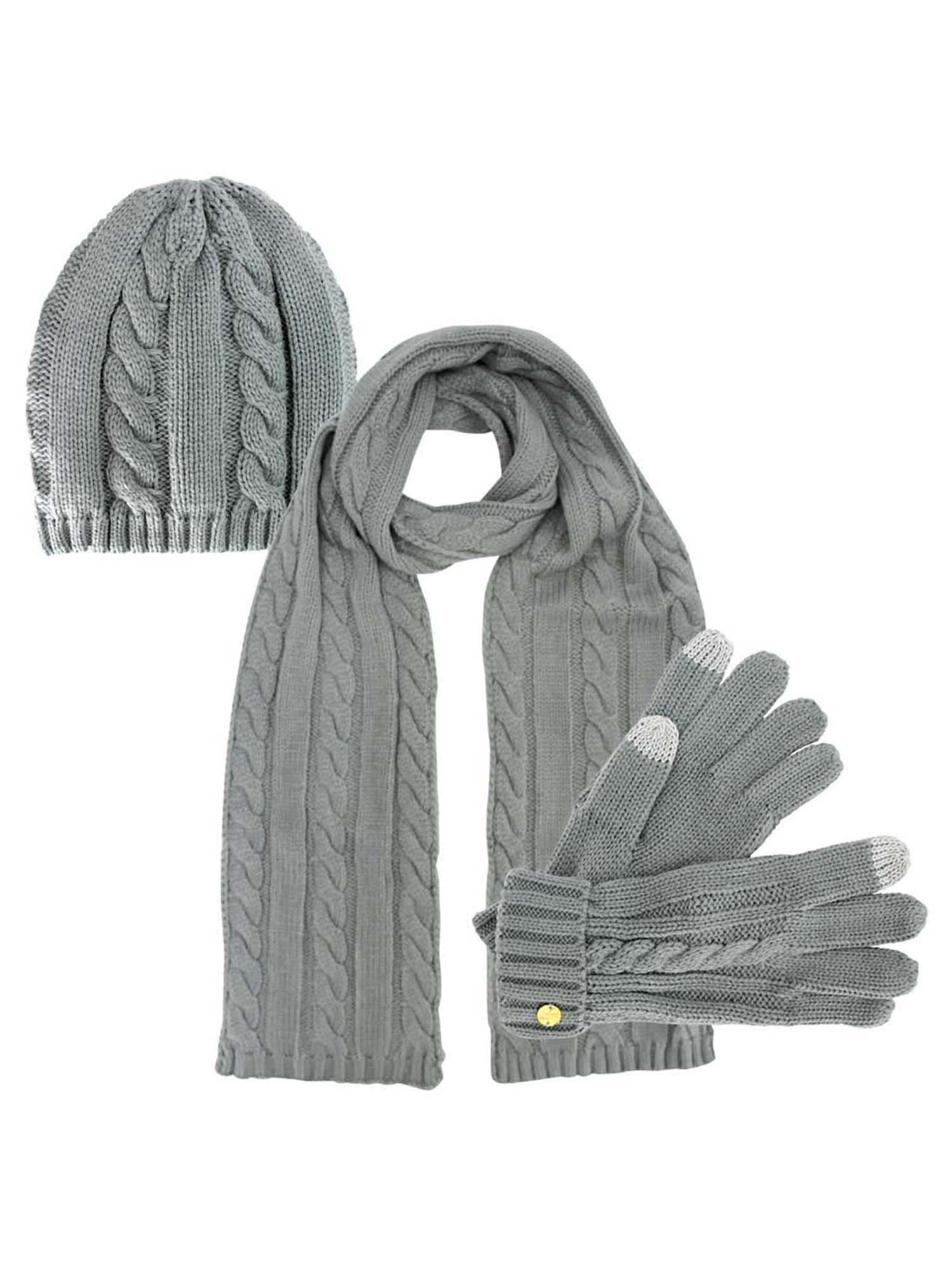 Light Grey 3 Piece Beanie Hat Texting Gloves & Matching Scarf Set