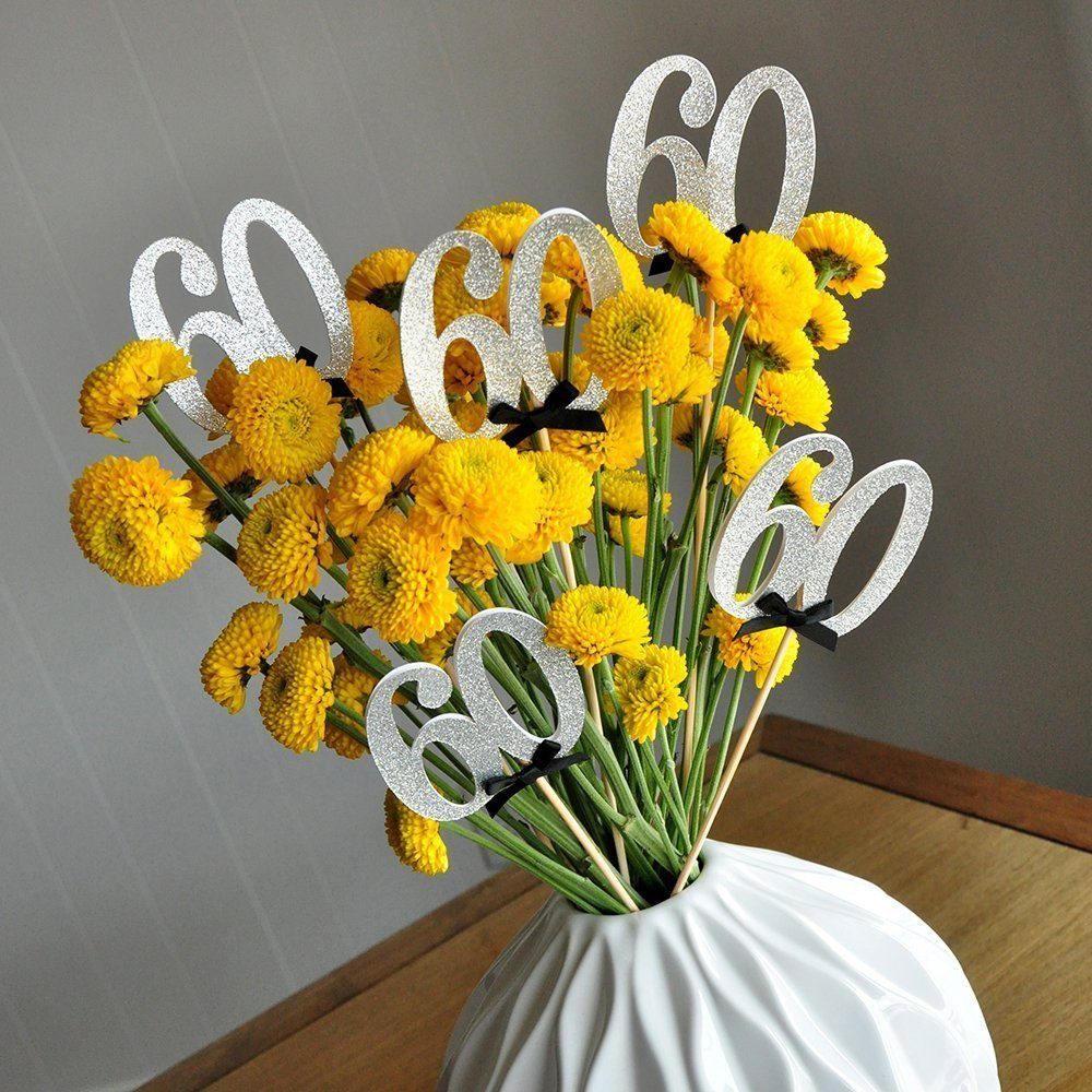 60th Birthday Centerpieces in Silver and Black 60th Anniversary Party Centerpiece Set of 5.