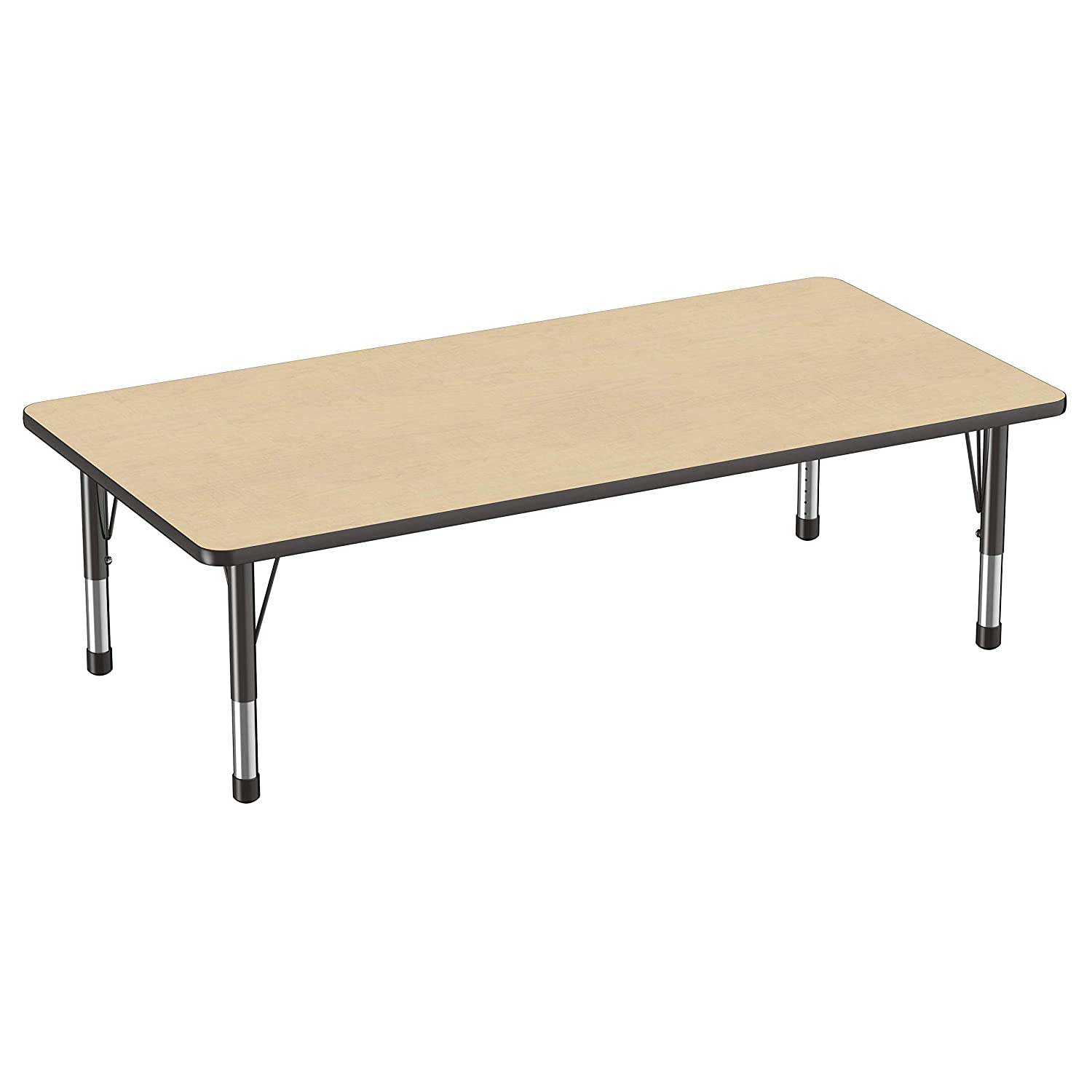 Toddler Legs Adjustable Height 15-24 inches 36 x 72 inch Maple Top and Black Edge FDP Rectangle Activity School and Classroom Kids Table
