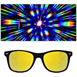 Special Edition Red + Black Two Tone Rave Diffraction Glasses w/Gold Mirror Firework Lenses