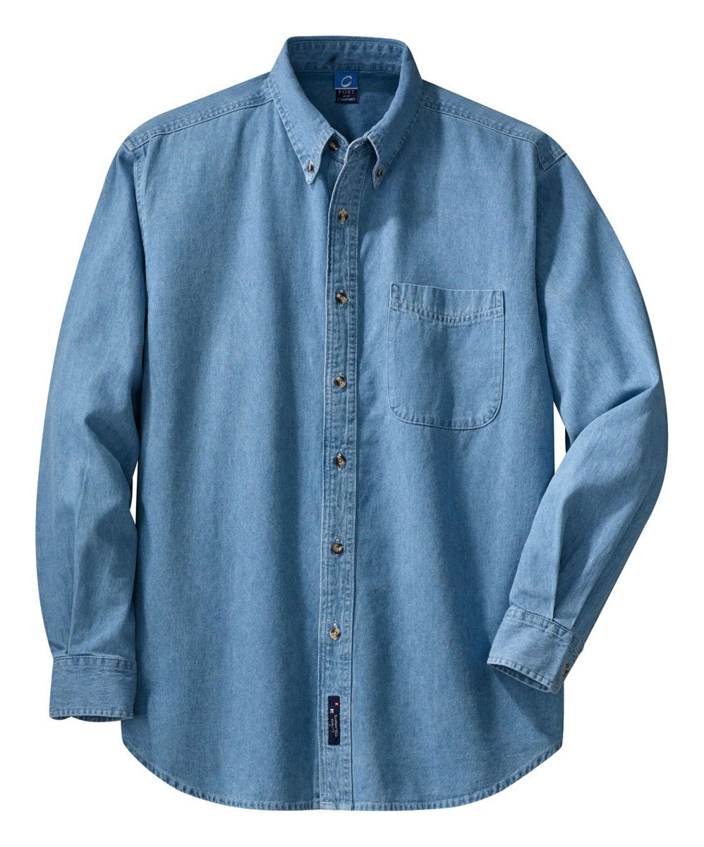Port & Company Long Sleeve Denim Shirt (SP10) 6X Faded Blue