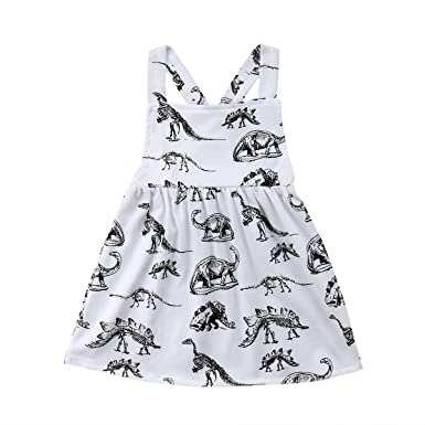 a4ab22148d28 yannzi Baby Girls Dinosaur Dress Clothes Ruffle Sleeve Tutu Skirt Backless  Sundress Birthday Party Princess Formal