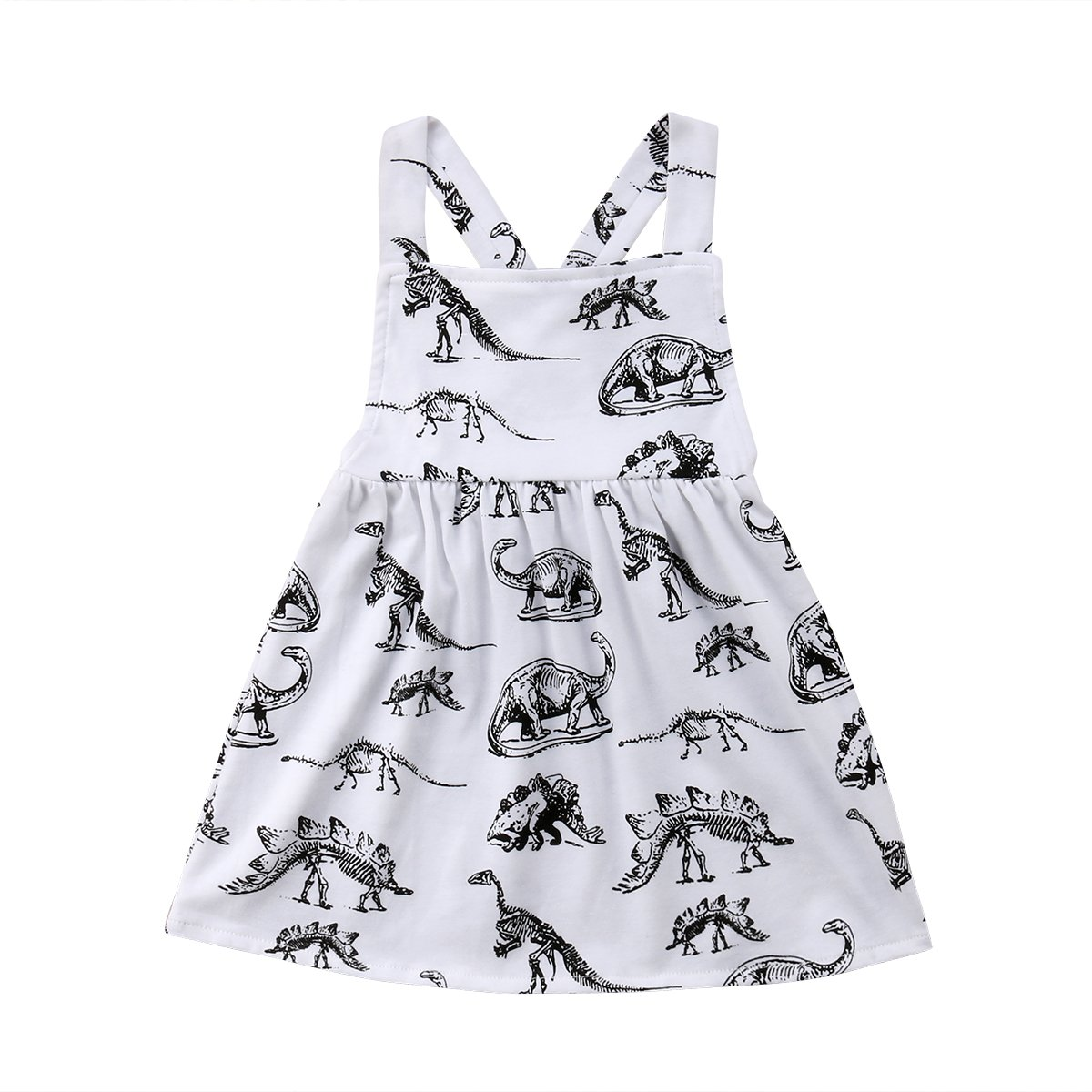 yannzi Baby Girls Dinosaur Dress Clothes Ruffle Sleeve Tutu Skirt Backless Sundress Birthday Party Princess Formal Outfit (6-12 Months, Dinosaur)