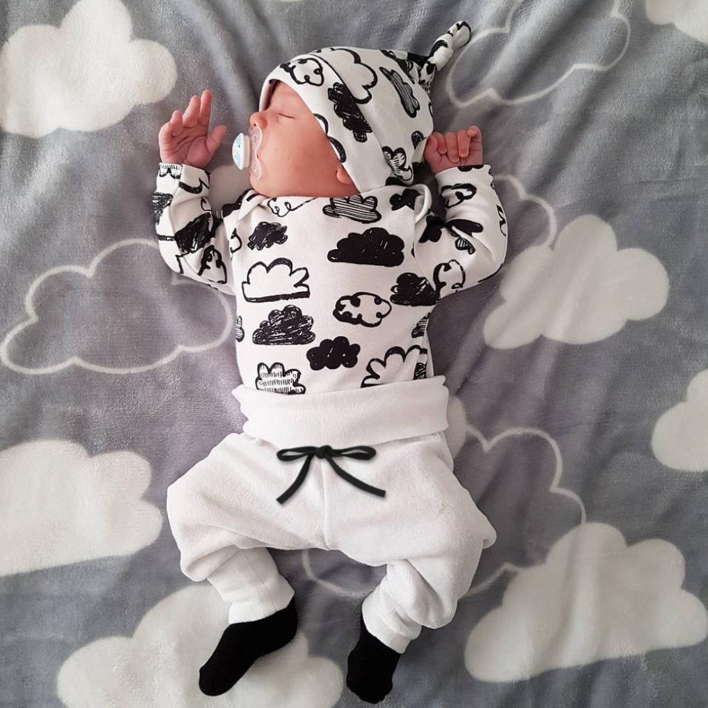 Lanhui Newborn Infant Baby Boy Cloud Print T Shirt Tops+Pants Outfits