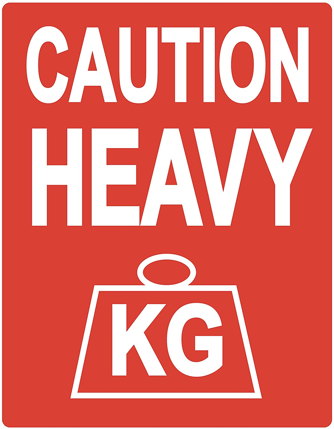 Pack of 'Caution Heavy' Packing Box Stickers / Sticky Labels 80 x 103mm rosso Audioprint Ltd