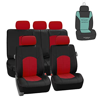FH Group PU008115 Highest Grade Faux Leather Seat Covers (Red) Full Set with Gift - Universal Fit: Automotive