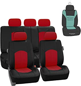 FH Group PU008115 Highest Grade Faux Leather Seat Covers (Red) Full Set with Gift – Universal Fit for Cars Trucks & SUVs