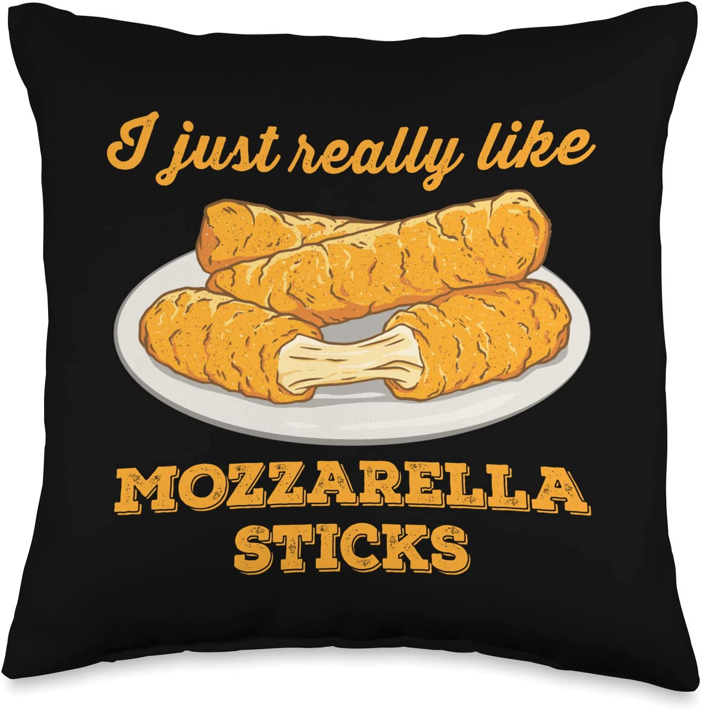 Italian Fast Food Cheese lover Gifts I Just Really Like Mozzarella Sticks Throw Pillow, 16x16, Multicolor