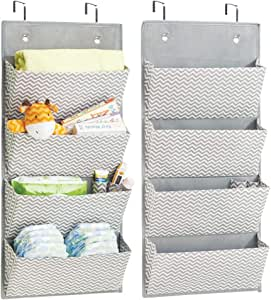 mDesign Soft Fabric Over The Door Hanging Chevron Storage Organizer with 4 Large Pockets for Child/Baby Room, Nursery, Playroom - Hooks Included - Pack of 2, Zig Zag Geometric Pattern in Gray/Cream