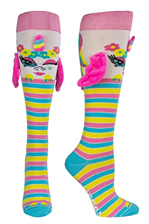 Women's & Girls Cute Animal Knee High Socks With Ears, Wings & Grippies  (Billie, Bruno, Twig)