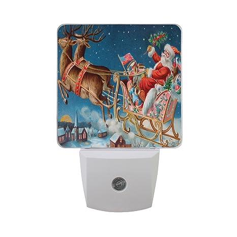 fcb2ad7942 Amazon.com: Naanle Set of 2 Santa Sleigh Flying Reindeer Snowflake ...