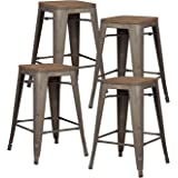 Pioneer Square Alessio 24-Inch Counter-Height Metal Stool with Bronze Finish and Elmwood Seat, Set of 4