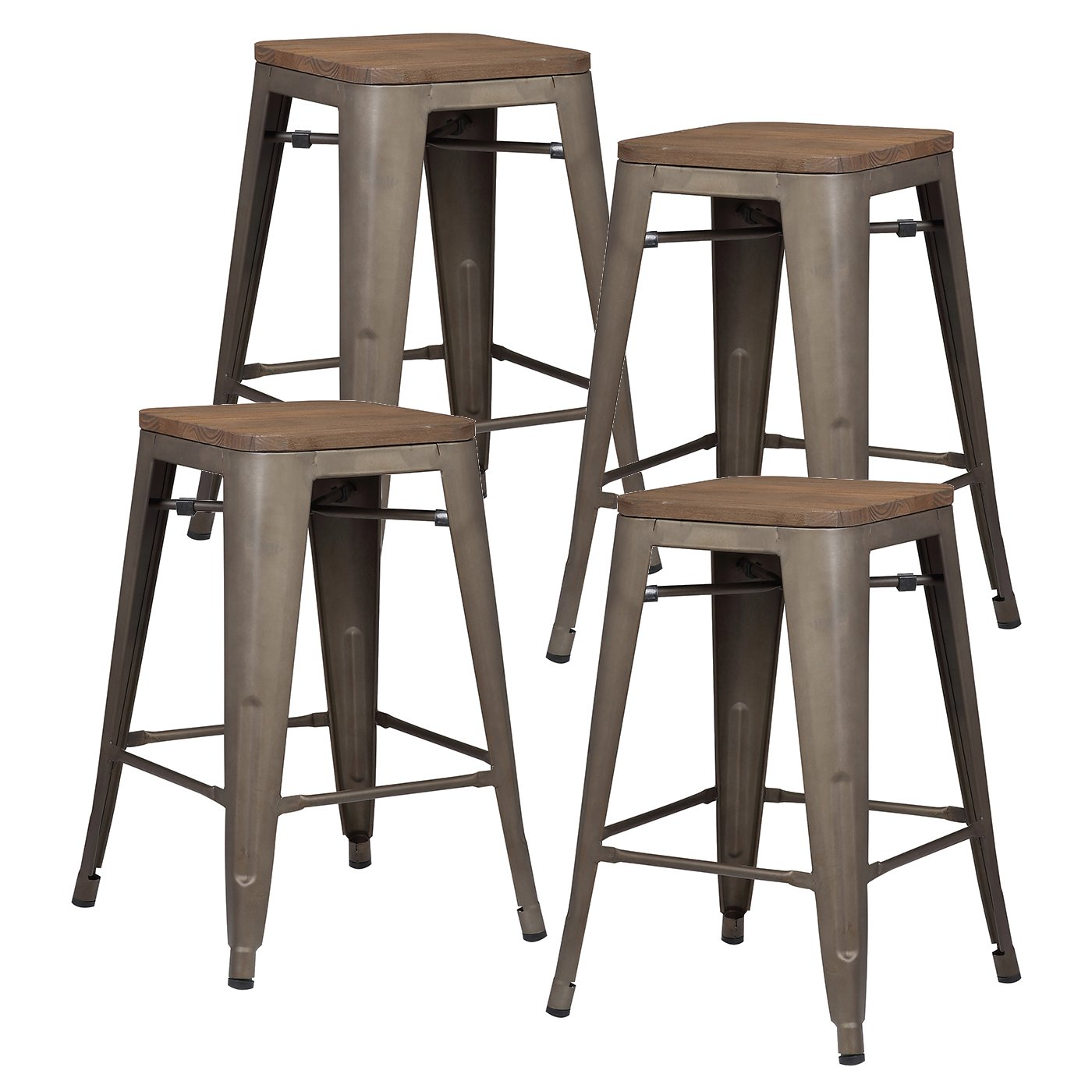 Phoenix Home Grey Faux Leather Counter Height Barstool, 26 , Walnut Wood Finish