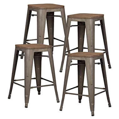 Poly and Bark Trattoria 24  Counter Height Stool with Elmwood Seat in Bronze (Set of 4)