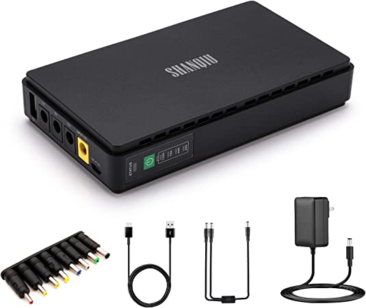 Sistema de Alimentación Ininterrumpida Mini UPS para WiFi, Enrutador, Módem, Cámara de Vigilancia con 10000mAH Batería Entrada DC/USB Salida 5V USB 5V ...
