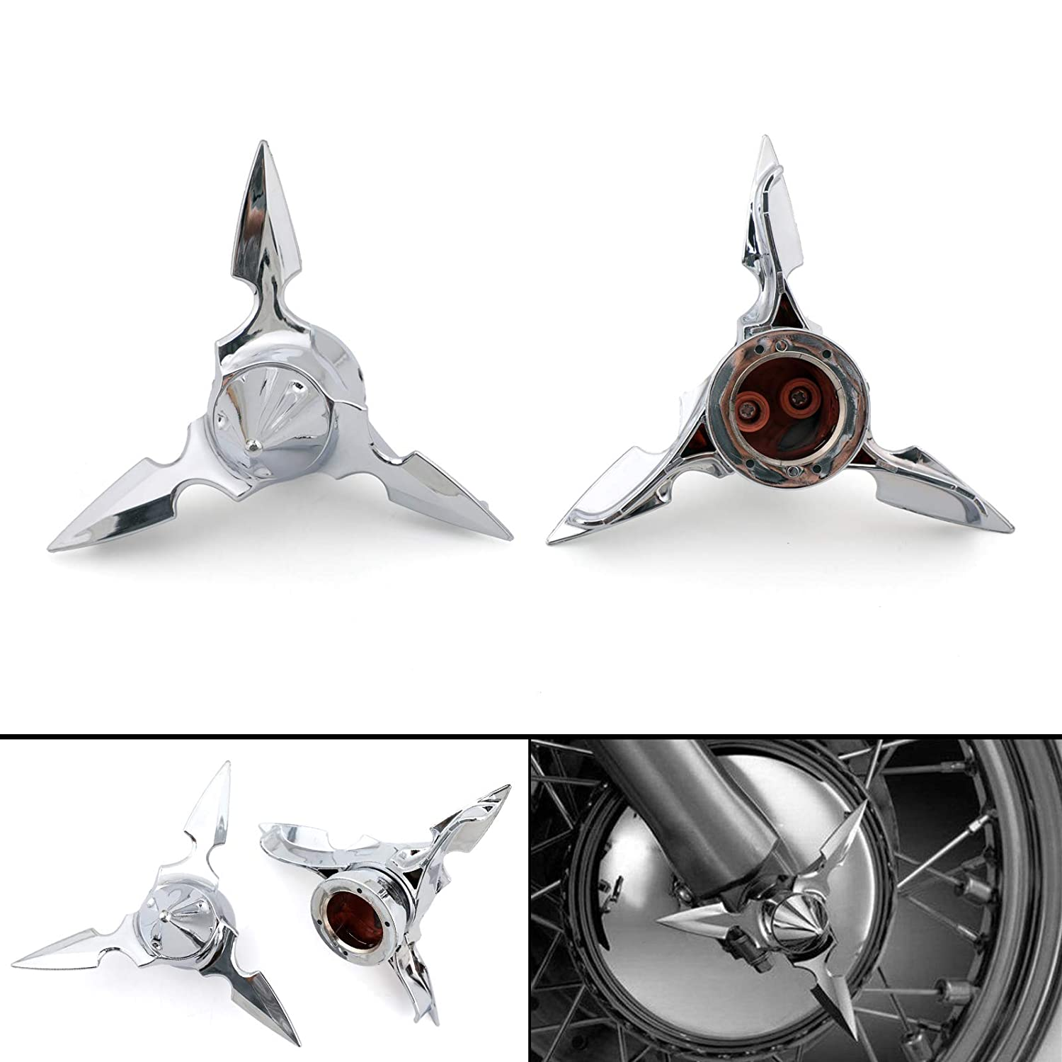 Artudatech Chrome Spun Blade Spinning Front Axle Cap Nut Cover For Harley Softail Touring