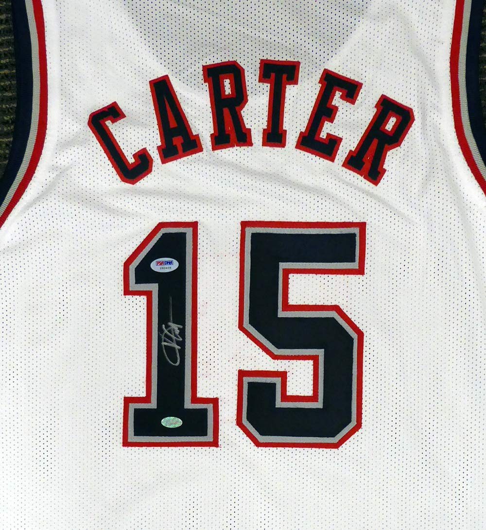 30cde77938e New Jersey Nets Vince Carter Autographed White Jersey PSA DNA at Amazon s  Sports Collectibles Store