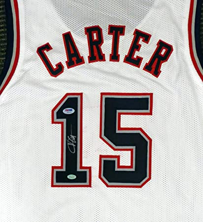 lowest price 3b637 8acd2 New Jersey Nets Vince Carter Autographed White Jersey PSA ...