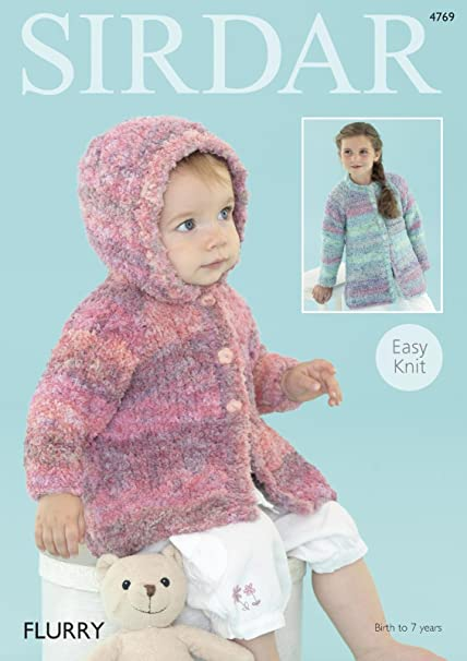 0c4689e5f Sirdar 4769 Knitting Pattern Baby and Girl s Easy Knit Coats in Sirdar  Flurry Chunky  Amazon.co.uk  Kitchen   Home
