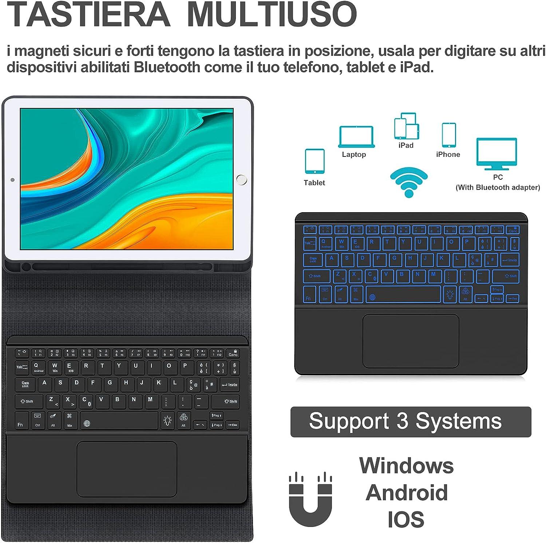 7 Colori Retroilluminata Bluetooth Touchpad Tastiera con Smart Cover per iPad 9.7 Nero SENGBIRCH Custodia Tastiera Italiana con Touchpad per iPad Air 2//Air//9.7 2018//9.7 2017//Pro 9.7