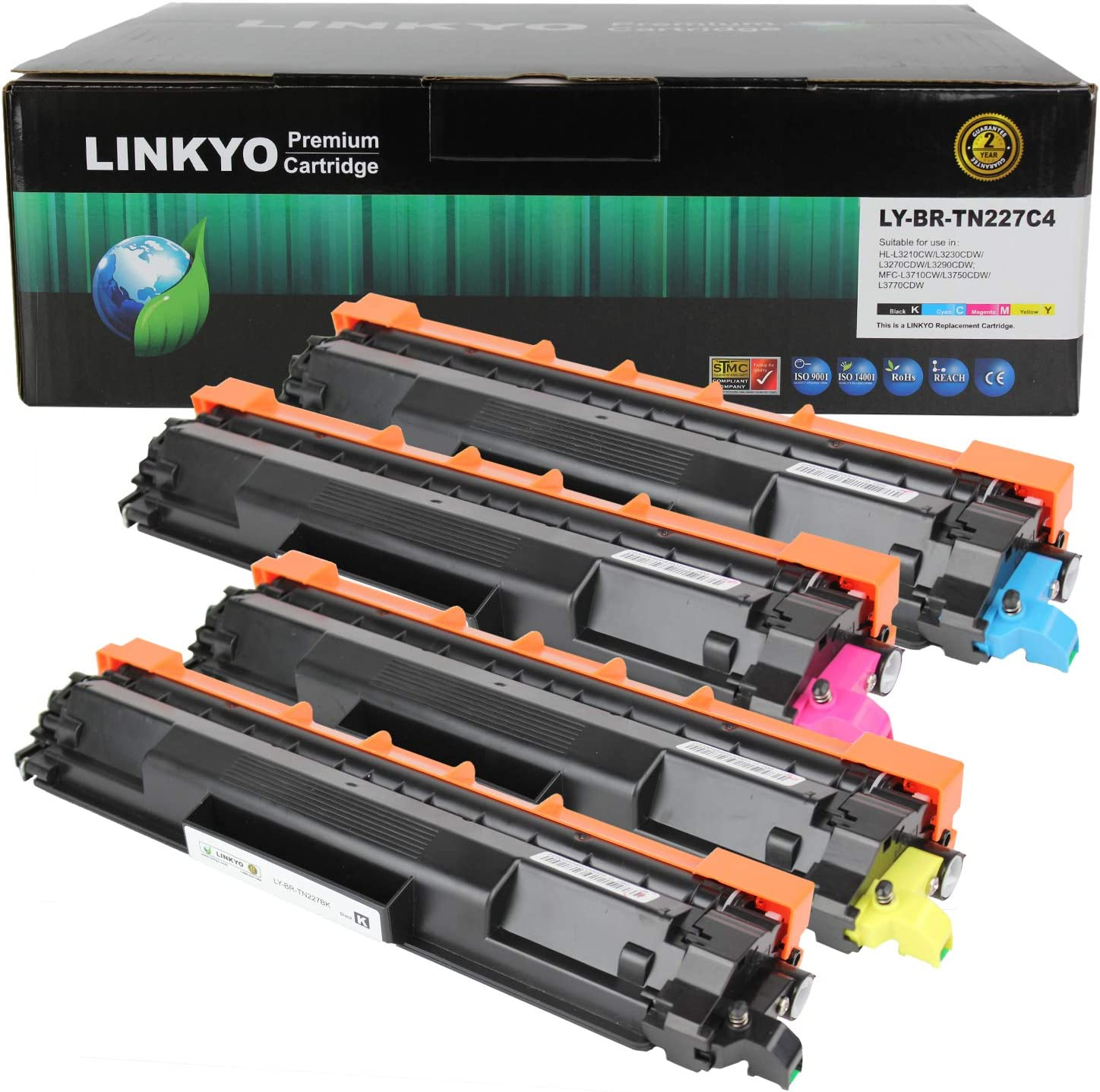 LINKYO Compatible Toner Cartridge Replacement for Brother TN227 High Yield TN223 TN227BK TN227C TN227M TN227Y (Black, Cyan, Magenta, Yellow, 4-Pack)