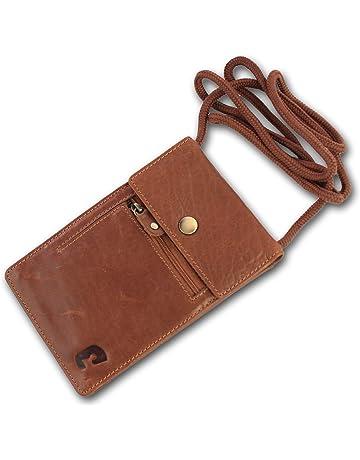 tarjeta de identificación estuche protección Greenburry bolso bandolera señores marrón de cuero Messenger Bag