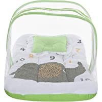 Superminis Multicolor Digital Elephant Print On White Base Design Bedding Set Thick Base, Foldable Mattress, Colorful Frill Pillow and Both Side Zip Closure Mosquito Net (0-12 Months, Green)
